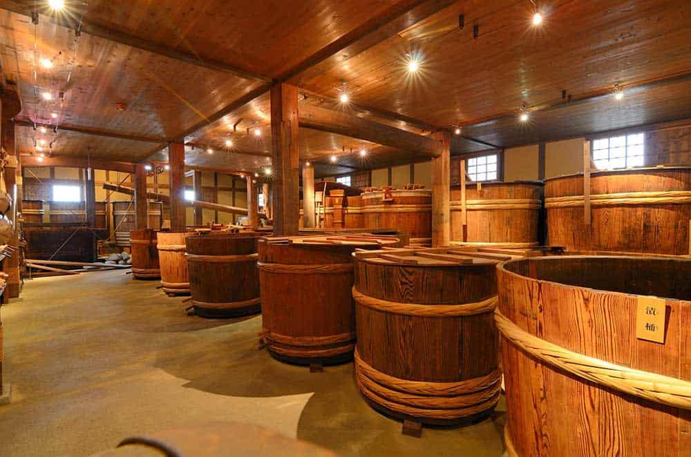 Barrels at Sake Brewery