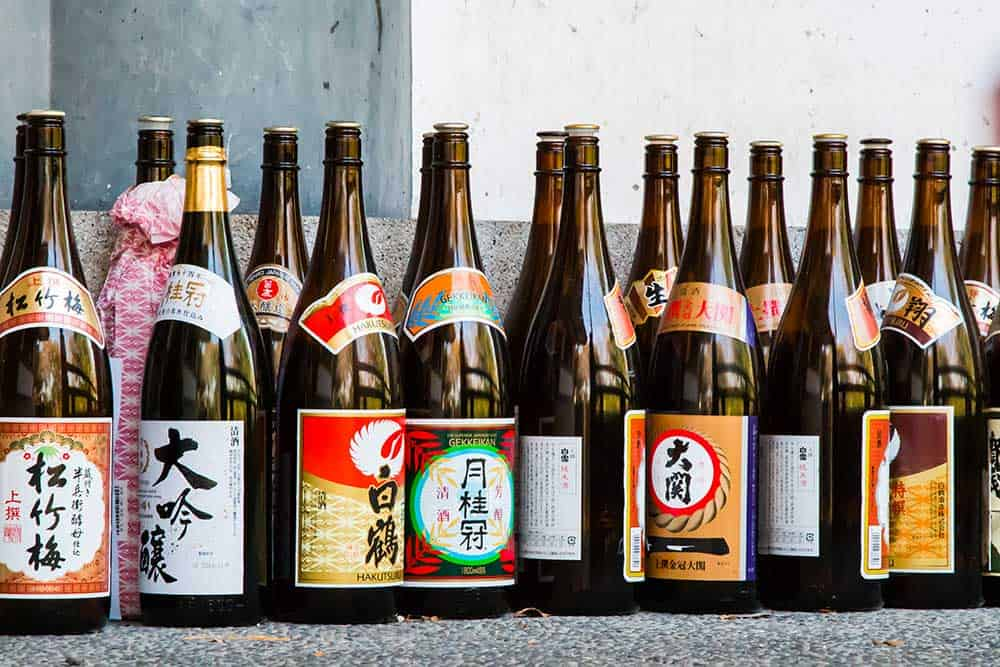 Rows of Sake Bottles